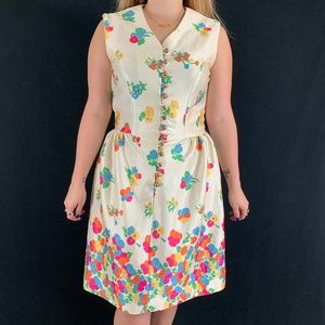60s/70s Floral Sleeveless Dress